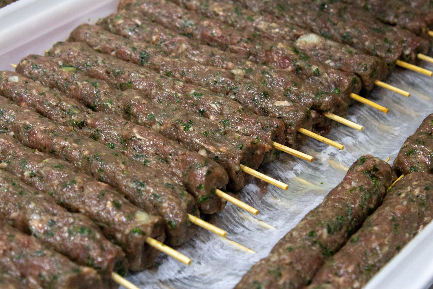 kafta kabobs on a platter