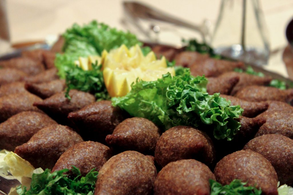 catering platter of kibbeh balls