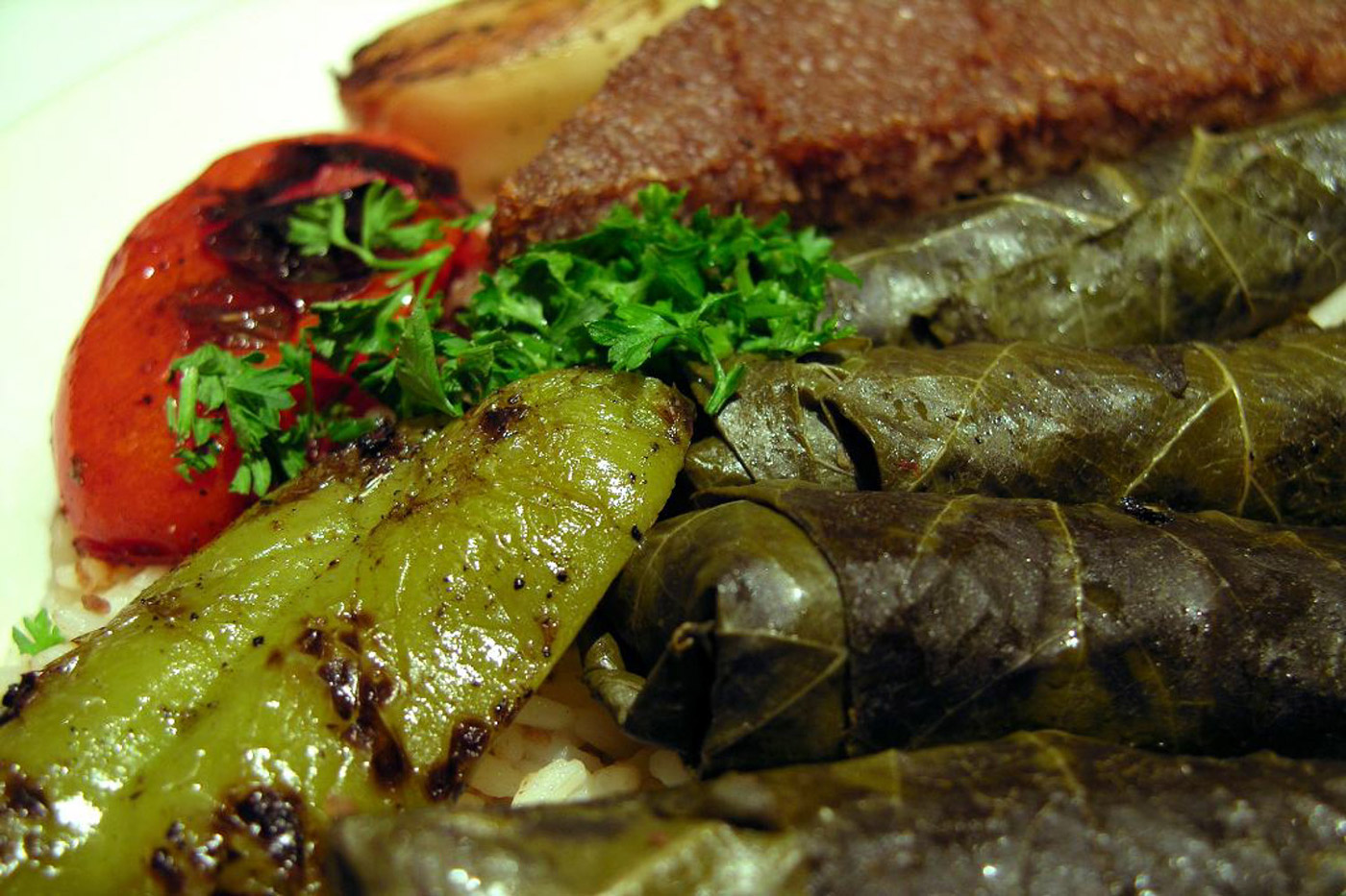 rolled vegetarian grape leaves